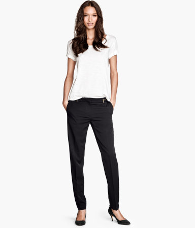 Slacks - length: standard; pattern: plain; waist: mid/regular rise; predominant colour: black; occasions: casual, evening; fibres: polyester/polyamide - stretch; fit: slim leg; pattern type: fabric; texture group: other - light to midweight; style: standard; season: a/w 2013