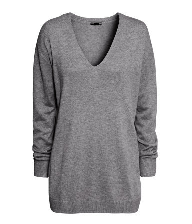 Fine Knit Jumper - neckline: low v-neck; pattern: plain; length: below the bottom; style: standard; predominant colour: mid grey; occasions: casual; fibres: polyester/polyamide - mix; fit: loose; sleeve length: long sleeve; sleeve style: standard; texture group: knits/crochet; pattern type: knitted - fine stitch; season: a/w 2013