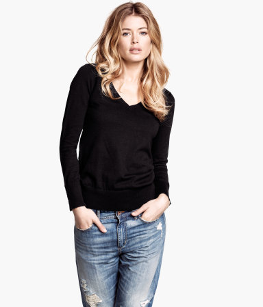 Fine Knit Jumper - neckline: low v-neck; pattern: plain; style: standard; predominant colour: black; occasions: casual, work, creative work; length: standard; fibres: wool - mix; fit: standard fit; sleeve length: long sleeve; sleeve style: standard; texture group: knits/crochet; pattern type: fabric; season: a/w 2013