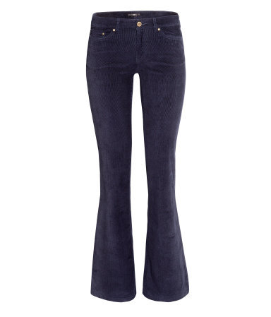 Corduroy Trousers - length: standard; pattern: plain; pocket detail: traditional 5 pocket; waist: mid/regular rise; predominant colour: navy; occasions: casual, creative work; fibres: cotton - stretch; texture group: corduroy; fit: bootcut; style: standard; season: a/w 2013