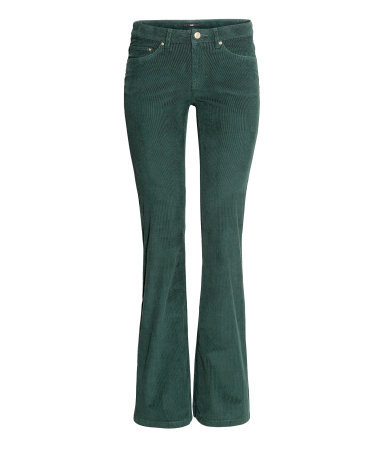 Corduroy Trousers - length: standard; pattern: plain; pocket detail: traditional 5 pocket; waist: mid/regular rise; predominant colour: dark green; occasions: casual, creative work; fibres: cotton - stretch; texture group: corduroy; fit: bootcut; style: standard; trends: broody brights; season: a/w 2013