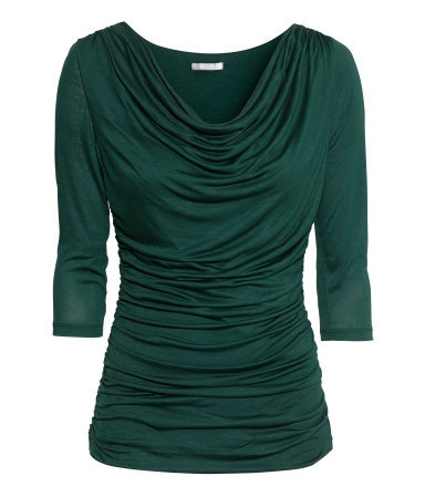 Viscose Top - neckline: cowl/draped neck; pattern: plain; bust detail: ruching/gathering/draping/layers/pintuck pleats at bust; predominant colour: dark green; occasions: casual, evening, work, creative work; length: standard; style: top; fibres: viscose/rayon - 100%; fit: body skimming; sleeve length: 3/4 length; sleeve style: standard; pattern type: fabric; texture group: jersey - stretchy/drapey; trends: broody brights; season: a/w 2013