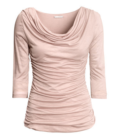 Viscose Top - neckline: cowl/draped neck; pattern: plain; bust detail: ruching/gathering/draping/layers/pintuck pleats at bust; predominant colour: blush; occasions: casual, evening, work, creative work; length: standard; style: top; fibres: viscose/rayon - 100%; fit: body skimming; hip detail: soft pleats at hip/draping at hip/flared at hip; sleeve length: 3/4 length; sleeve style: standard; pattern type: fabric; texture group: jersey - stretchy/drapey; trends: 1940's hitchcock heroines; season: a/w 2013