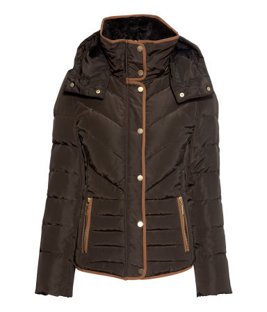 Padded Jacket - pattern: plain; length: below the bottom; style: quilted; collar: high neck; fit: slim fit; predominant colour: chocolate brown; secondary colour: camel; occasions: casual, creative work; fibres: polyester/polyamide - 100%; sleeve length: long sleeve; sleeve style: standard; texture group: technical outdoor fabrics; collar break: high; pattern type: fabric; season: a/w 2013; wardrobe: basic