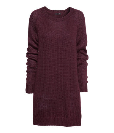 Knitted Dress - style: jumper dress; length: mid thigh; neckline: round neck; pattern: plain; predominant colour: aubergine; occasions: casual, creative work; fit: body skimming; fibres: acrylic - mix; sleeve length: long sleeve; sleeve style: standard; texture group: knits/crochet; pattern type: knitted - other; trends: broody brights; season: a/w 2013