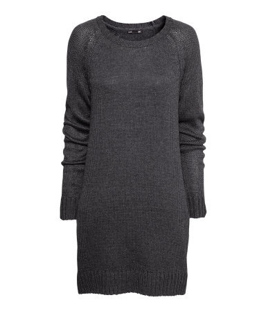 Knitted Dress - style: jumper dress; length: mid thigh; neckline: round neck; pattern: plain; predominant colour: charcoal; occasions: casual, creative work; fit: body skimming; fibres: acrylic - mix; sleeve length: long sleeve; sleeve style: standard; texture group: knits/crochet; pattern type: knitted - fine stitch; season: a/w 2013