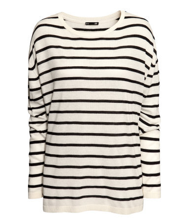 Knitted Jumper - neckline: round neck; pattern: horizontal stripes; length: below the bottom; style: standard; predominant colour: white; secondary colour: black; occasions: casual, creative work; fibres: viscose/rayon - stretch; fit: loose; sleeve length: long sleeve; sleeve style: standard; texture group: knits/crochet; pattern type: knitted - other; pattern size: standard; season: a/w 2013