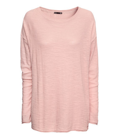 Knitted Jumper - neckline: round neck; pattern: plain; length: below the bottom; style: standard; predominant colour: blush; occasions: casual, creative work; fibres: cotton - 100%; fit: loose; sleeve length: long sleeve; sleeve style: standard; texture group: knits/crochet; season: a/w 2013