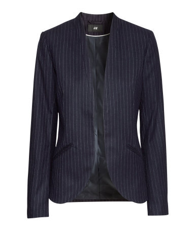 Pinstripe Jacket - style: single breasted blazer; collar: round collar/collarless; pattern: pinstripe; predominant colour: black; occasions: casual, evening, work, creative work; length: standard; fit: tailored/fitted; fibres: polyester/polyamide - stretch; sleeve length: long sleeve; sleeve style: standard; collar break: low/open; pattern type: fabric; texture group: woven light midweight; trends: masculine feminine; season: a/w 2013