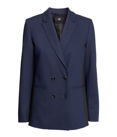 Double Breasted Jacket - style: double breasted blazer; length: below the bottom; collar: standard lapel/rever collar; predominant colour: navy; occasions: casual, evening, work, creative work; fit: tailored/fitted; fibres: polyester/polyamide - mix; sleeve length: long sleeve; sleeve style: standard; collar break: medium; pattern: colourblock; texture group: woven light midweight; season: a/w 2013