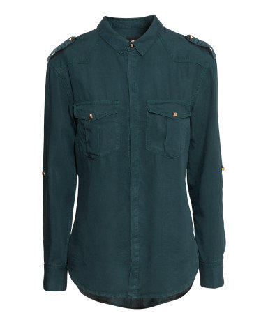 Shirt With Rivets - neckline: shirt collar/peter pan/zip with opening; pattern: plain; style: shirt; bust detail: pocket detail at bust; predominant colour: dark green; occasions: casual, work, creative work; length: standard; fit: body skimming; shoulder detail: discreet epaulette; sleeve length: long sleeve; sleeve style: standard; texture group: cotton feel fabrics; pattern type: fabric; trends: broody brights; season: a/w 2013