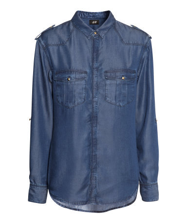 Shirt With Rivets - neckline: shirt collar/peter pan/zip with opening; pattern: plain; shoulder detail: obvious epaulette; style: shirt; predominant colour: denim; occasions: casual, creative work; length: standard; fibres: viscose/rayon - 100%; fit: straight cut; sleeve length: long sleeve; sleeve style: standard; texture group: denim; pattern type: fabric; season: a/w 2013; wardrobe: highlight