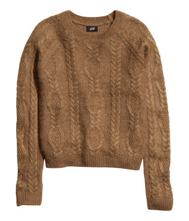 Cable Knit Jumper - sleeve style: raglan; style: standard; pattern: cable knit; predominant colour: tan; occasions: casual, creative work; length: standard; fibres: acrylic - mix; fit: standard fit; neckline: crew; sleeve length: long sleeve; texture group: knits/crochet; season: a/w 2013