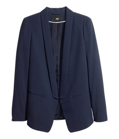 Dinner Jacket - pattern: plain; style: single breasted blazer; collar: shawl/waterfall; predominant colour: navy; occasions: casual, evening, work, occasion, creative work; length: standard; fit: tailored/fitted; fibres: polyester/polyamide - stretch; sleeve length: long sleeve; sleeve style: standard; texture group: crepes; collar break: low/open; pattern type: fabric; season: a/w 2013