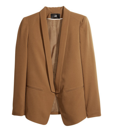 Dinner Jacket - pattern: plain; style: single breasted blazer; collar: shawl/waterfall; length: below the bottom; predominant colour: tan; occasions: casual, creative work; fit: tailored/fitted; fibres: polyester/polyamide - mix; sleeve length: long sleeve; sleeve style: standard; texture group: crepes; collar break: low/open; pattern type: fabric; season: a/w 2013