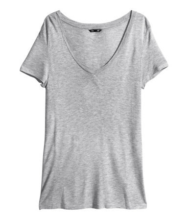 V Neck Top - neckline: v-neck; pattern: plain; style: t-shirt; predominant colour: light grey; occasions: casual; length: standard; fibres: viscose/rayon - 100%; fit: straight cut; sleeve length: short sleeve; sleeve style: standard; pattern type: fabric; texture group: jersey - stretchy/drapey; season: a/w 2013