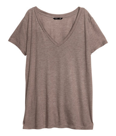 V Neck Top - neckline: v-neck; pattern: plain; style: t-shirt; predominant colour: taupe; occasions: casual, holiday, creative work; length: standard; fibres: viscose/rayon - 100%; fit: straight cut; sleeve length: short sleeve; sleeve style: standard; pattern type: fabric; texture group: jersey - stretchy/drapey; season: a/w 2013