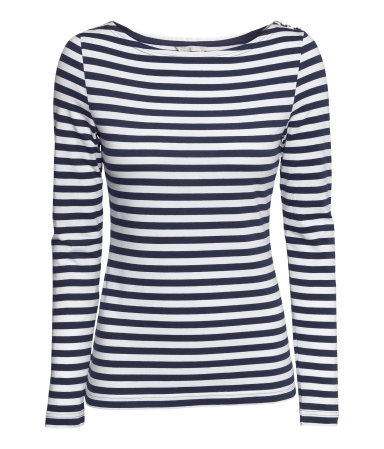 Boat Neck Top - neckline: slash/boat neckline; pattern: horizontal stripes; secondary colour: white; predominant colour: black; occasions: casual, work, creative work; length: standard; style: top; fibres: cotton - stretch; fit: body skimming; sleeve length: long sleeve; sleeve style: standard; pattern type: fabric; texture group: jersey - stretchy/drapey; season: a/w 2013; trends: monochrome