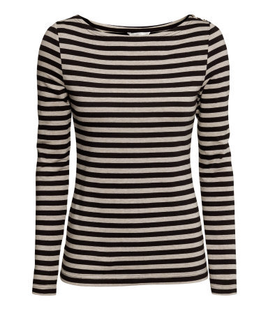 Boat Neck Top - neckline: slash/boat neckline; pattern: horizontal stripes; secondary colour: stone; predominant colour: black; occasions: casual, work, creative work; length: standard; style: top; fibres: cotton - stretch; fit: body skimming; sleeve length: long sleeve; sleeve style: standard; pattern type: fabric; texture group: jersey - stretchy/drapey; season: a/w 2013