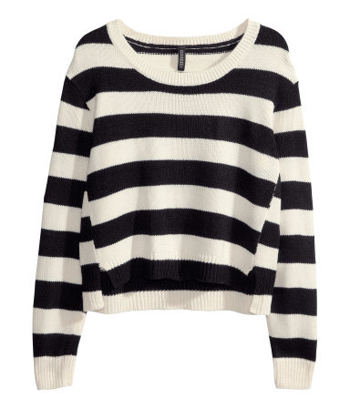 Knitted Jumper - neckline: round neck; pattern: horizontal stripes; style: standard; secondary colour: white; predominant colour: black; occasions: casual, creative work; length: standard; fibres: acrylic - 100%; fit: loose; sleeve length: long sleeve; sleeve style: standard; texture group: knits/crochet; season: a/w 2013