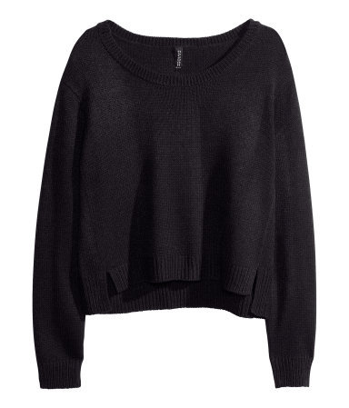 Knitted Jumper - neckline: round neck; sleeve style: raglan; pattern: plain; style: standard; predominant colour: black; occasions: casual; length: standard; fibres: acrylic - 100%; fit: loose; sleeve length: long sleeve; texture group: knits/crochet; pattern type: fabric; season: a/w 2013