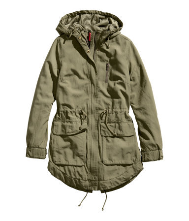 Parka - pattern: plain; collar: funnel; style: parka; back detail: hood; length: mid thigh; predominant colour: khaki; occasions: casual; fit: straight cut (boxy); waist detail: belted waist/tie at waist/drawstring; sleeve length: long sleeve; sleeve style: standard; texture group: cotton feel fabrics; collar break: high/illusion of break when open; pattern type: fabric; fibres: viscose/rayon - mix; trends: gorgeous grunge; season: a/w 2013; hip detail: front pockets at hip