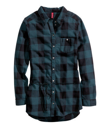 Flannel Shirt - neckline: shirt collar/peter pan/zip with opening; pattern: checked/gingham; length: below the bottom; style: shirt; predominant colour: navy; secondary colour: black; occasions: casual; fibres: cotton - 100%; fit: body skimming; sleeve length: long sleeve; sleeve style: standard; texture group: cotton feel fabrics; pattern type: fabric; season: a/w 2013; pattern size: big & busy (top)