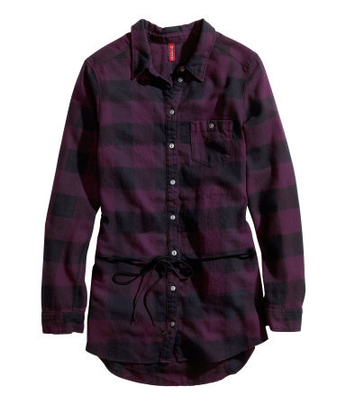 Flannel Shirt - neckline: shirt collar/peter pan/zip with opening; pattern: checked/gingham; length: below the bottom; style: shirt; waist detail: belted waist/tie at waist/drawstring; predominant colour: aubergine; secondary colour: black; occasions: casual, creative work; fibres: cotton - 100%; fit: body skimming; sleeve length: long sleeve; sleeve style: standard; texture group: cotton feel fabrics; pattern type: fabric; pattern size: standard; season: a/w 2013; wardrobe: highlight