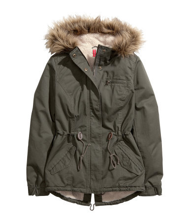 Parka - pattern: plain; length: below the bottom; collar: funnel; style: parka; back detail: hood; predominant colour: dark green; occasions: casual; fit: straight cut (boxy); fibres: cotton - 100%; waist detail: belted waist/tie at waist/drawstring; sleeve length: long sleeve; sleeve style: standard; texture group: cotton feel fabrics; collar break: high/illusion of break when open; pattern type: fabric; embellishment: fur; season: a/w 2013; wardrobe: highlight; embellishment location: neck