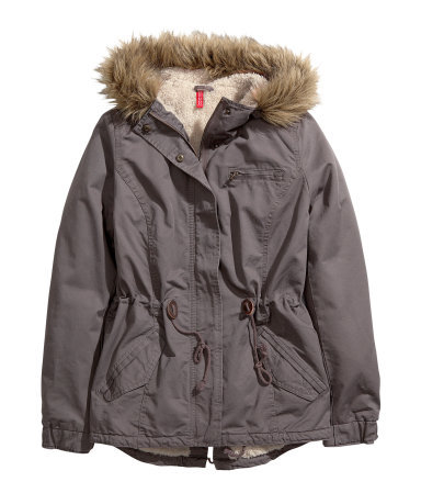 Parka - pattern: plain; length: below the bottom; collar: funnel; style: parka; back detail: hood; predominant colour: charcoal; occasions: casual; fit: straight cut (boxy); fibres: cotton - 100%; waist detail: belted waist/tie at waist/drawstring; sleeve length: long sleeve; sleeve style: standard; texture group: cotton feel fabrics; collar break: high/illusion of break when open; pattern type: fabric; embellishment: fur; season: a/w 2013; wardrobe: highlight; embellishment location: neck