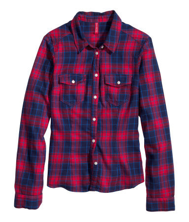 Cotton Shirt - neckline: shirt collar/peter pan/zip with opening; pattern: checked/gingham; style: shirt; predominant colour: true red; secondary colour: navy; occasions: casual, creative work; length: standard; fibres: cotton - 100%; fit: straight cut; sleeve length: long sleeve; sleeve style: standard; texture group: cotton feel fabrics; pattern type: fabric; pattern size: standard; trends: gorgeous grunge; season: a/w 2013