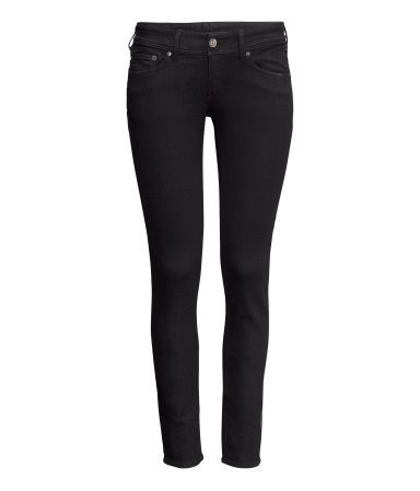 Super Skinny Super Low Jeans - style: skinny leg; length: standard; pattern: plain; pocket detail: traditional 5 pocket; waist: mid/regular rise; predominant colour: black; occasions: casual, evening, creative work; fibres: cotton - stretch; jeans detail: dark wash; texture group: denim; pattern type: fabric; trends: gorgeous grunge; season: a/w 2013