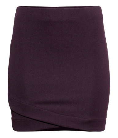 Jersey Skirt - length: mini; pattern: plain; fit: tight; waist: mid/regular rise; predominant colour: aubergine; occasions: casual, evening, work, creative work; style: mini skirt; fibres: polyester/polyamide - stretch; texture group: jersey - clingy; pattern type: fabric; season: a/w 2013
