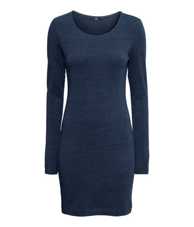 Short Basic Dress - style: jumper dress; length: mid thigh; neckline: round neck; pattern: plain; predominant colour: navy; occasions: casual, evening, creative work; fit: body skimming; sleeve length: long sleeve; sleeve style: standard; pattern type: fabric; texture group: jersey - stretchy/drapey; fibres: viscose/rayon - mix; season: a/w 2013