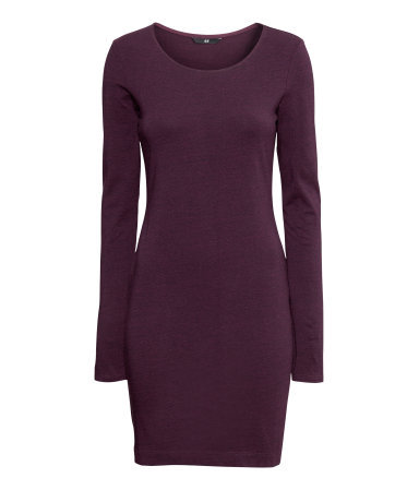 Short Basic Dress - style: jumper dress; length: mid thigh; neckline: round neck; fit: tight; pattern: plain; predominant colour: aubergine; occasions: casual, evening, work, creative work; sleeve length: long sleeve; sleeve style: standard; pattern type: fabric; texture group: jersey - stretchy/drapey; fibres: viscose/rayon - mix; season: a/w 2013
