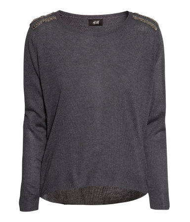 Fine Knit Jumper - neckline: round neck; pattern: plain; style: standard; predominant colour: charcoal; occasions: casual, creative work; length: standard; fibres: acrylic - mix; fit: standard fit; sleeve length: long sleeve; sleeve style: standard; texture group: knits/crochet; pattern type: knitted - fine stitch; embellishment: beading; season: a/w 2013; wardrobe: highlight; embellishment location: shoulder