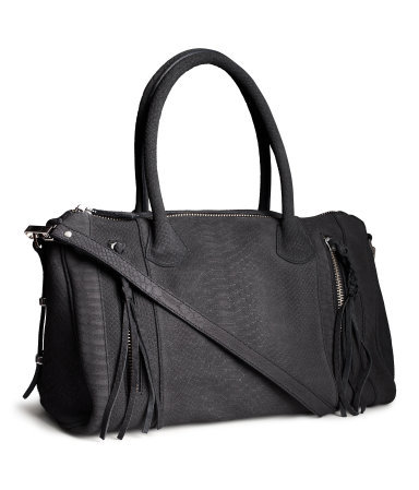 Suede Bag - predominant colour: black; occasions: casual, work, creative work; style: shoulder; length: shoulder (tucks under arm); size: oversized; material: suede; embellishment: tassels; pattern: plain; finish: plain; season: a/w 2013
