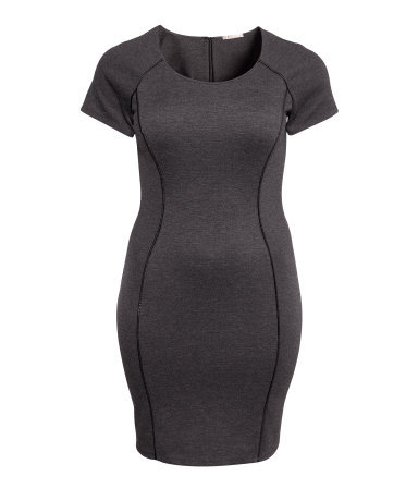 + Dress - neckline: round neck; sleeve style: raglan; fit: tight; pattern: plain; style: bodycon; predominant colour: charcoal; secondary colour: black; occasions: casual, evening, work, occasion; length: just above the knee; fibres: polyester/polyamide - stretch; sleeve length: short sleeve; texture group: jersey - clingy; pattern type: fabric; trends: 1940's hitchcock heroines; season: a/w 2013
