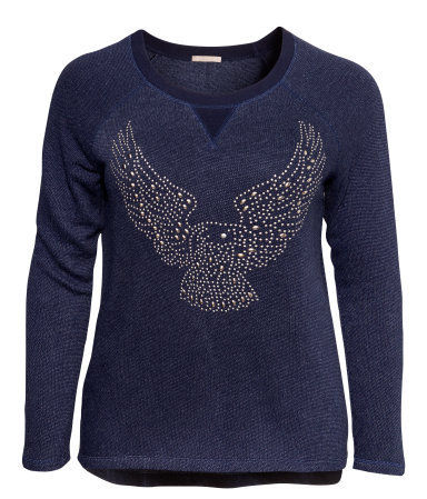 + Sweatshirt - neckline: round neck; pattern: plain; bust detail: added detail/embellishment at bust; style: sweat top; predominant colour: navy; occasions: casual, creative work; length: standard; fibres: cotton - mix; fit: body skimming; sleeve length: long sleeve; sleeve style: standard; texture group: knits/crochet; pattern type: knitted - fine stitch; embellishment: studs; trends: excess embellishment, broody brights; season: a/w 2013