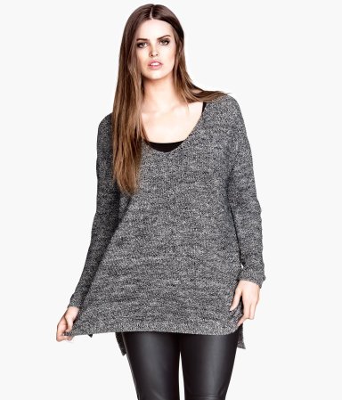 + Knitted Jumper - neckline: low v-neck; pattern: plain; length: below the bottom; style: standard; predominant colour: mid grey; occasions: casual; fibres: cotton - mix; fit: loose; sleeve length: long sleeve; sleeve style: standard; texture group: knits/crochet; pattern type: fabric; season: a/w 2013