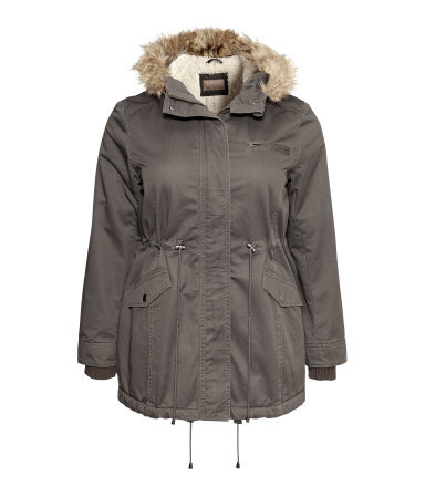 + Lined Parka - pattern: plain; length: below the bottom; fit: loose; style: parka; collar: high neck; predominant colour: khaki; occasions: casual, creative work; fibres: cotton - 100%; waist detail: belted waist/tie at waist/drawstring; sleeve length: long sleeve; sleeve style: standard; texture group: cotton feel fabrics; collar break: high; pattern type: fabric; embellishment: fur; season: a/w 2013; hip detail: front pockets at hip