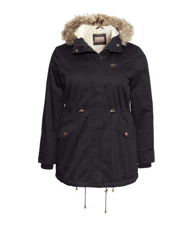 + Lined Parka - pattern: plain; length: below the bottom; collar: funnel; fit: loose; style: parka; back detail: hood; predominant colour: black; occasions: casual; fibres: cotton - 100%; waist detail: belted waist/tie at waist/drawstring; sleeve length: long sleeve; sleeve style: standard; texture group: cotton feel fabrics; collar break: high/illusion of break when open; pattern type: fabric; embellishment: fur; season: a/w 2013; wardrobe: highlight; embellishment location: neck