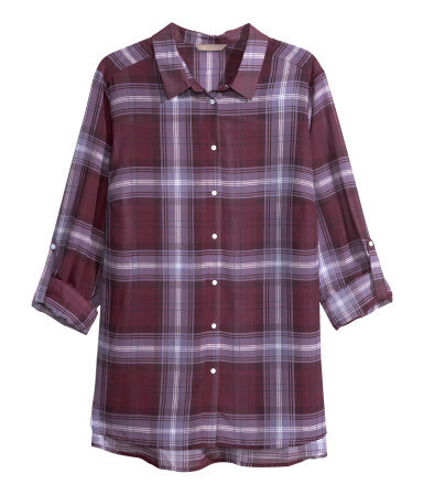 + Chiffon Blouse - neckline: shirt collar/peter pan/zip with opening; pattern: checked/gingham; length: below the bottom; style: blouse; predominant colour: burgundy; secondary colour: lilac; occasions: casual, creative work; fibres: polyester/polyamide - 100%; fit: loose; sleeve length: 3/4 length; sleeve style: standard; texture group: sheer fabrics/chiffon/organza etc.; pattern type: fabric; pattern size: standard; season: a/w 2013