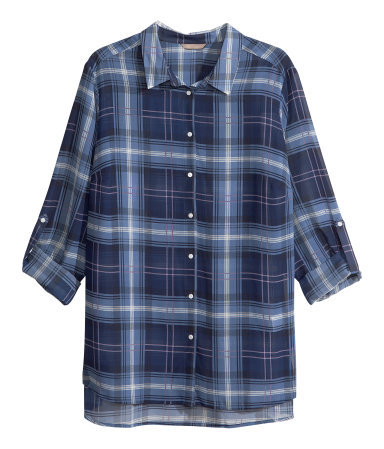 + Chiffon Blouse - neckline: shirt collar/peter pan/zip with opening; pattern: checked/gingham; style: blouse; secondary colour: pale blue; predominant colour: navy; occasions: casual; length: standard; fibres: polyester/polyamide - 100%; fit: straight cut; sleeve length: 3/4 length; sleeve style: standard; texture group: sheer fabrics/chiffon/organza etc.; pattern type: fabric; trends: gorgeous grunge; season: a/w 2013; pattern size: big & busy (top)