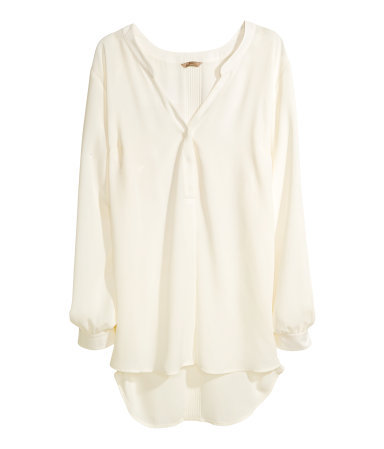 + Chiffon Blouse - pattern: plain; length: below the bottom; sleeve style: balloon; style: blouse; predominant colour: ivory/cream; occasions: casual, evening, work, creative work; neckline: collarstand & mandarin with v-neck; fibres: polyester/polyamide - 100%; fit: loose; sleeve length: long sleeve; texture group: sheer fabrics/chiffon/organza etc.; pattern type: fabric; season: a/w 2013