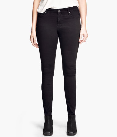 + Superstretch Jeans - style: skinny leg; length: standard; pattern: plain; pocket detail: traditional 5 pocket; waist: mid/regular rise; predominant colour: black; occasions: casual, evening, creative work; fibres: cotton - stretch; jeans detail: dark wash; texture group: denim; season: a/w 2013