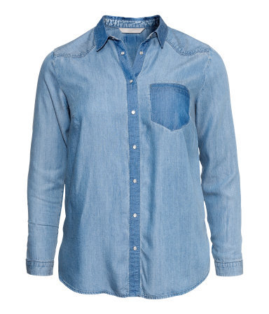 + Denim Shirt - neckline: shirt collar/peter pan/zip with opening; pattern: plain; style: shirt; predominant colour: denim; occasions: casual, creative work; length: standard; fibres: acrylic - 100%; fit: loose; sleeve length: long sleeve; sleeve style: standard; texture group: denim; season: a/w 2013