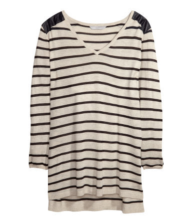 + Fine Knit Jumper - neckline: low v-neck; pattern: horizontal stripes; length: below the bottom; style: standard; shoulder detail: contrast pattern/fabric at shoulder; predominant colour: stone; secondary colour: black; occasions: casual, creative work; fibres: acrylic - mix; fit: loose; sleeve length: long sleeve; sleeve style: standard; texture group: knits/crochet; pattern type: fabric; season: a/w 2013