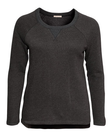 + Sweatshirt - neckline: round neck; sleeve style: raglan; pattern: plain; style: sweat top; predominant colour: charcoal; occasions: casual, creative work; length: standard; fibres: cotton - mix; fit: loose; sleeve length: long sleeve; texture group: jersey - stretchy/drapey; season: a/w 2013