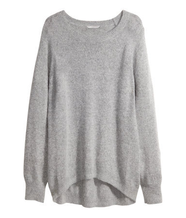 + Knitted Jumper - neckline: round neck; sleeve style: raglan; pattern: plain; length: below the bottom; style: standard; predominant colour: light grey; occasions: casual, creative work; fibres: polyester/polyamide - mix; fit: loose; sleeve length: long sleeve; texture group: knits/crochet; pattern type: fabric; season: a/w 2013